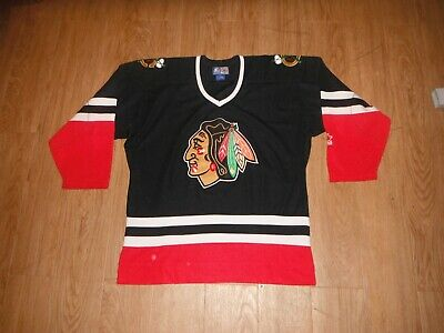 Vintage 90 s Chicago Blackhawks STARTER Black Jersey Men s Medium Hockey ... 987030276