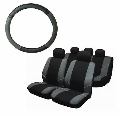 Grey Steering Wheel & Seat Cover set for Mercedes-Benz C-Class
