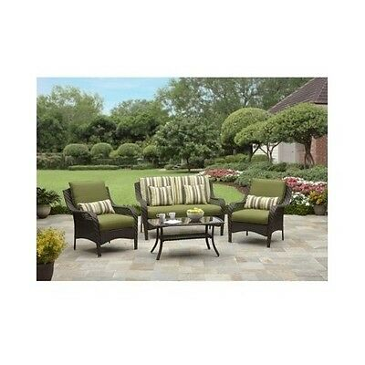Patio Furniture Set Outdoor Lawn Dining Yard Green Conversation Table Loveseat