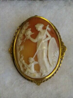 Antique Vintage 14K Large Cameo Pin Brooch Angel and Goddess