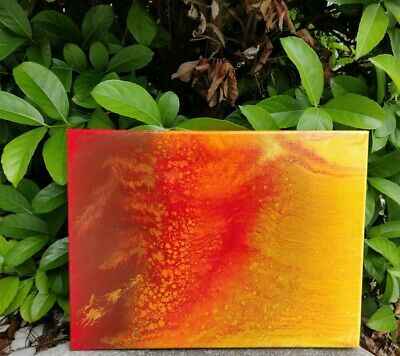 "Acrylic Pour Abstract Painting on 12"" x 16"" Stretched Canvas ""Lava"""