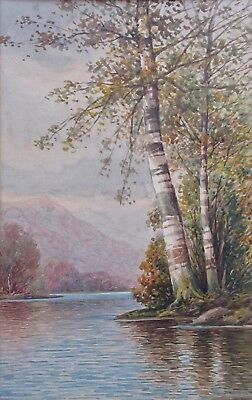 Listed Artist William Paskell/ T. Bailey White Mountains WC Landscape Painting