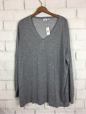 Hot Cotton $88 NWT New Silver Grey stretch v neck Sweater plus size 3x 22 24
