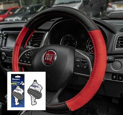 Red Leather Look Stitched Steering Wheel Cover for Citroen C2 03-09