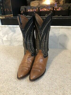 b81c9a39b7a LARRY MAHAN WOMENS Western Cowboy Boots. All Leather. Size 7. Tan And Black