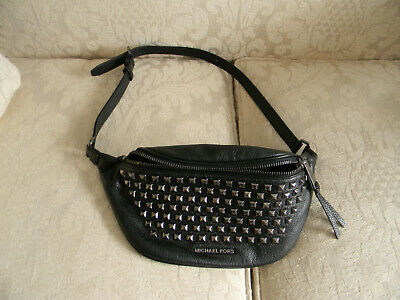 42f9dbce421202 MK MICHAEL KORS Black Zip Stud Leather Belt Bag Fanny Pack - $100.00 ...