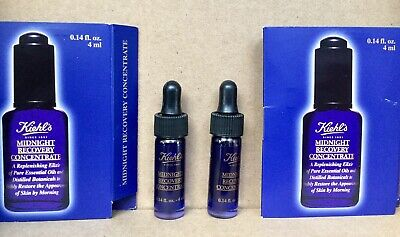 2X KIEHL'S Midnight Recovery Concentrate .14oz/ 4ml Each …Deluxe Travel Size NEW