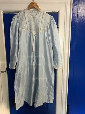 7fd3fa3980 CHRISTIAN DIOR LINGERIE Womens Nightgown Sz M Blue W  Lace Eyelet ...