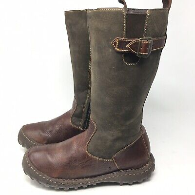 b36ee76dbacf Born Womens Size 8.5 M Brown Two Tone Leather Side Zip Mid Calf Riding Boots