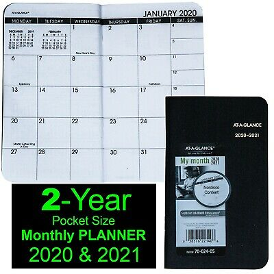 """2020 & 2021 At-A-Glance 70-024 Two Year Monthly Pocket Planner, 3-1/2 x 6-1/8"""""""