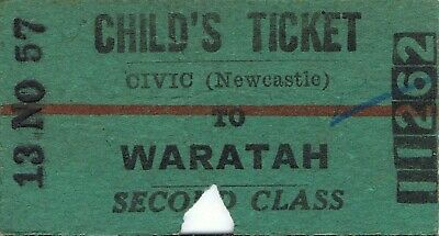 Railway tickets a trip from Civic-Newcastle to Waratah by the old NSWGR in 1957