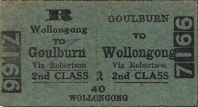 Railway tickets a trip from Goulburn to Wollongong by the old NSWGR in 1959
