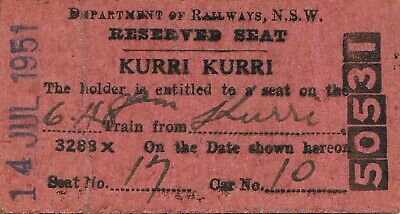 Railway tickets a reserved seat from Kurri Kurri by the old NSWGR SMR in 1951