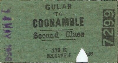 Railway tickets a trip from Gular to Coonamble by the old NSWGR in 1956
