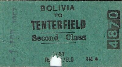 Railway tickets a trip from Bolivia to Tenterfield by the old NSWGR in 1957