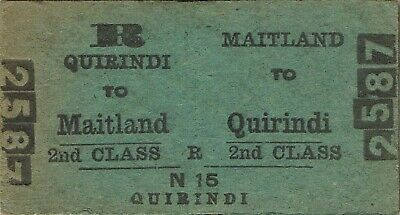 Railway tickets a trip from Maitland to Quirindi by the old NSWGR