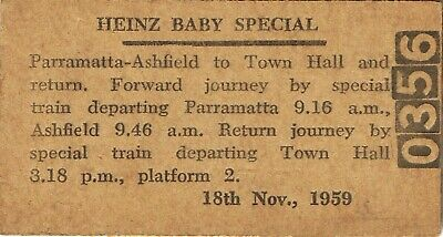 Railway tickets a trip for a Heinz Baby to Town Hall by the old NSWGR in 1959