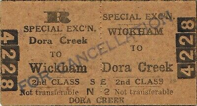 Railway tickets a trip from Wickham to Dora Creek by the old NSWGR