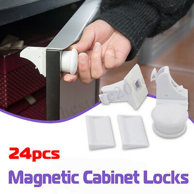 24PCS Magnetic Cabinet Drawer Cupboard Locks for Baby Kids Safety Child