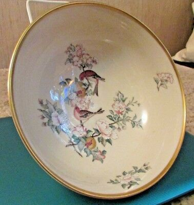 "Beautiful! Lenox Fine Ivory China ""serenade"" 8 1/2"" Large Footed Serving Bowl"