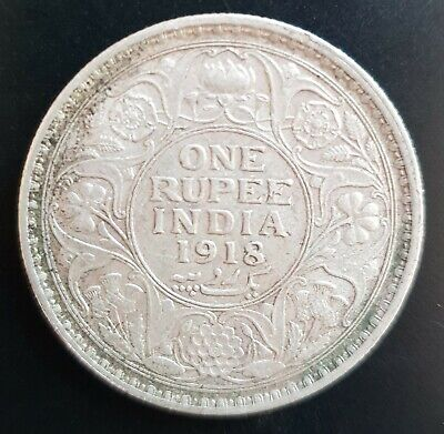 1918 British India King George V One Rupee Silver Coin..vf+..