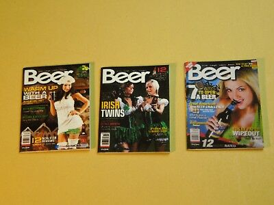 "Dollhouse Miniature 1"" 1/12 Scale Set of 3 Beer Magazine Issues"