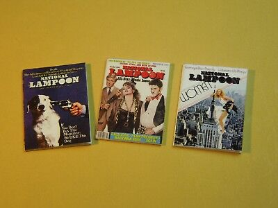 "Dollhouse Miniature 1"" 1/12 Scale Set of 3 National Lampoon Magazines"