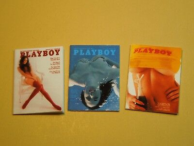 "Dollhouse Miniature 1"" 1/12 Scale early 1970s Playboy Magazines - set of 3"