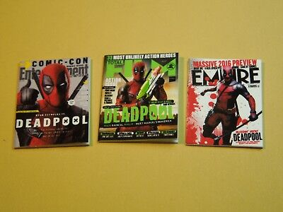 "Dollhouse Miniature 1"" 1/12 Scale Set of 3 Magazines with Deadpool on the covers"