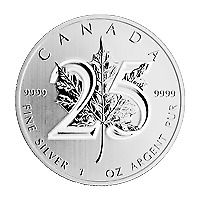Lot of 25 x 1 oz 2013 Canadian Maple Leaf 25th Anniversary Silver Coin