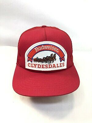c352ea9fe96 VINTAGE BUDWEISER CLYDESDALES Patch SnapBack Trucker Mesh Hat USA ...
