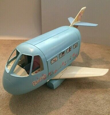 Mattel Barbie Blue AirPlane Vintage Rare Jumbo Jet Plane with accessories VGUC