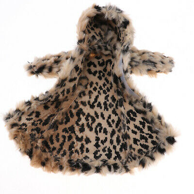 Dolls Winter Plush Hooded Overcoat Beige Leopard 1/6 Doll Clothes