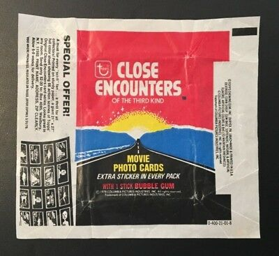 Rare 1978 Bubble Gum Packet Wrapper Close Encounters Of The Third Kind Movie