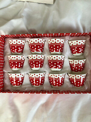 RED / WHITE DOTTED ARABIC COFFEE CUPS  - 1x BOX OF 12 CUPS  -  NEW