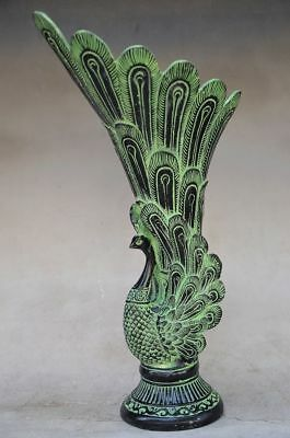 Oriental Chinese Bronze Handwork Carved Peacock Vase