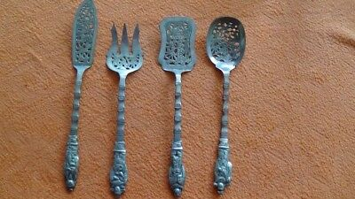 4 couverts à poisson argent Indochine indochine antique silver cutlery