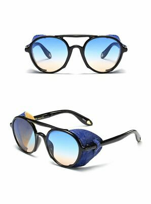 95469a9056 Mens Sunglasses Steampunk Side Shields Summer Style Leather Round Retro UV  400