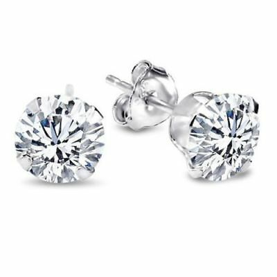 Real 14K White Gold 1.00 Ct Round Cut Diamond Solitaire Stud Earrings Screw Back