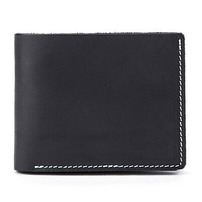 Black Mens Real Leather Wallet Handmade Soft Slim Cash Pocket Purse Card Holders