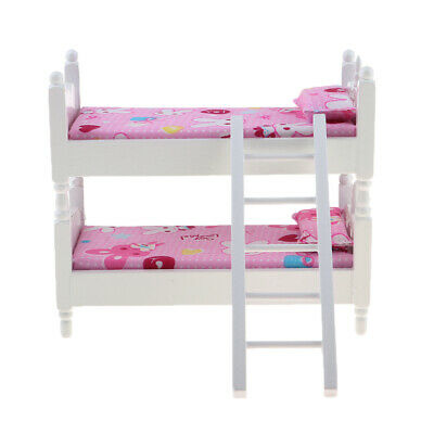 1/12Scale Dollhouse Miniature Kids Bedroom Furniture Bunk Bed Pink Bunny