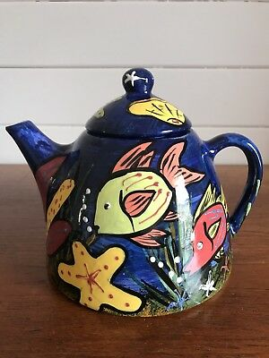 Vintage Australian Studio Pottery Large Glazed Fish Hand Painted Teapot Signed