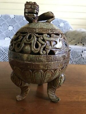 Stunning Vintage Chinese Censor Foo Dog Lion Incense Burner