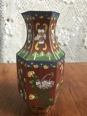 Stunning Vintage Chinese Cloisonne Hexagonal Vase With Wooden Stand