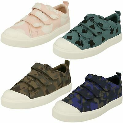 Childrens Boys Girls Clarks Hook & Loop Patterned Canvas Shoes City Flare Lo K