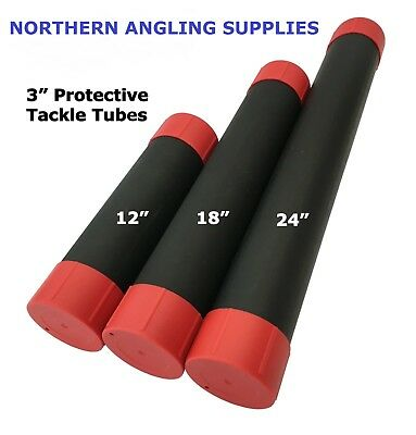 NAS 3 inch Black Plastic Fishing Float/Tackle Tubes Various Length with End Caps