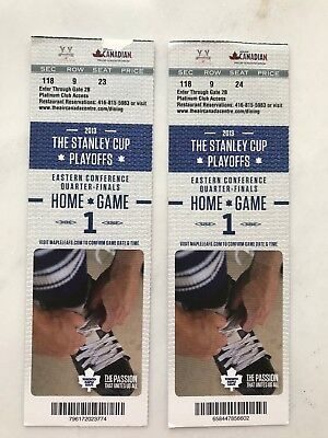 Toronto Maple Leafs Play-offs 2013 set of 2 Home Game 1 ticket stubs