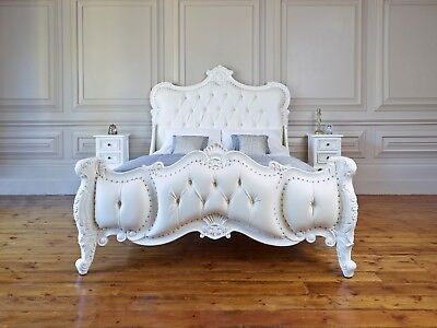 Double bed - Hand carved French Rococo. Painted and upholstered to order in Kent
