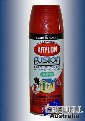Krylon Fusion Plastic Paint 340gm - Gloss Sundried Tomato Red- AUS Seller