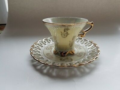 Tea Cup and Saucer Vintage Japan Iridescent White and Gold Collectible Tea Set